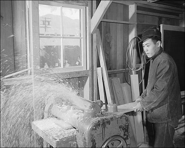 WWII Manzanar Woodworker Ansel Adams Photo Print for Sale