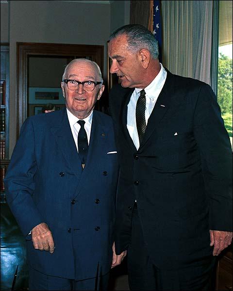 President Lyndon Johnson & Harry Truman Photo Print for Sale