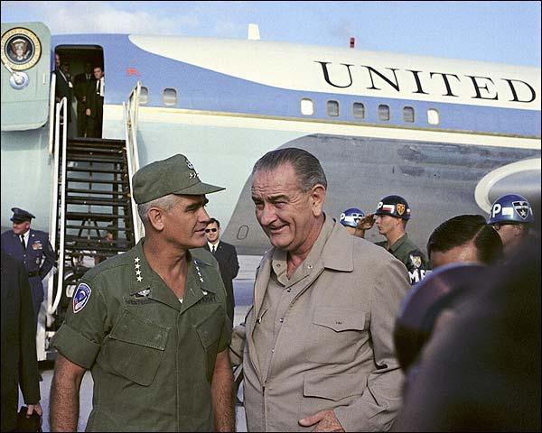 President Lyndon Johnson Arrives in Vietnam Photo Print for Sale