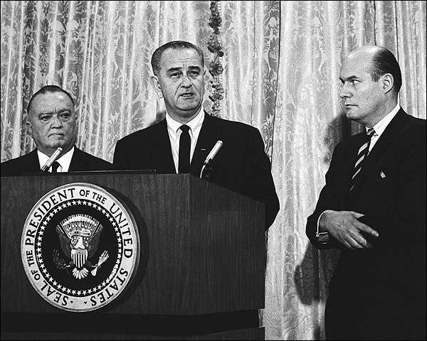 President Lyndon Johnson & J Edgar Hoover Photo Print for Sale