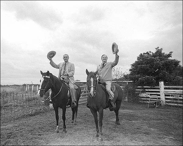 President Johnson and Hubert Humphrey on Horseback Photo Print for Sale