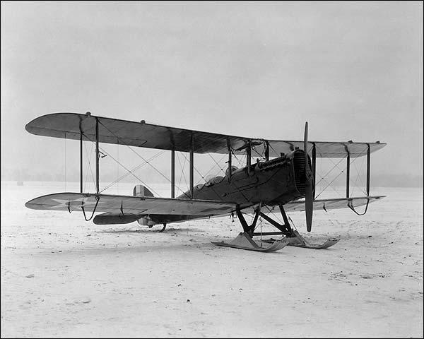 De Havilland DH-4 Airplane w/ Skis 3/4 View Photo Print for Sale