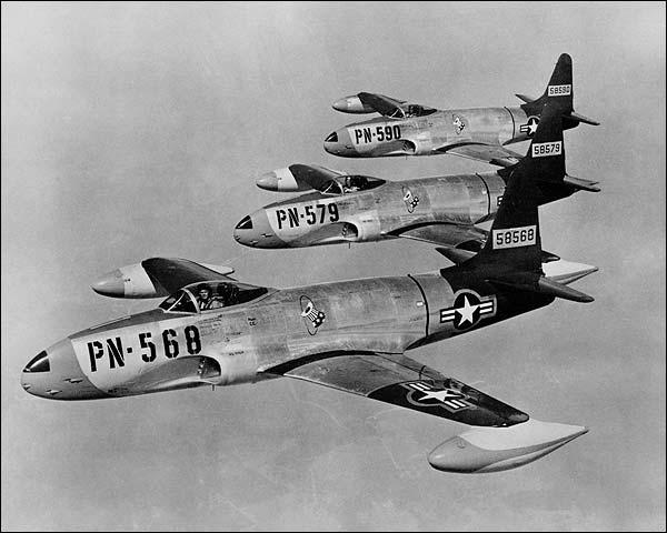 Lockheed F-80 Shooting Stars in Flight Photo Print for Sale