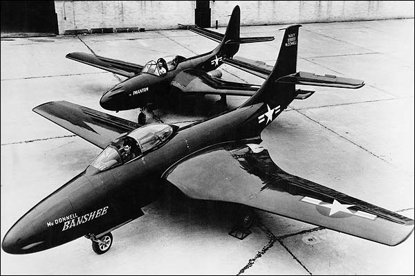 McDonnell F-2H Banshee & FH-1 Phantom Photo Print for Sale