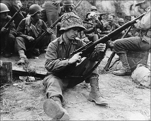 WWII American Sniper Soldier Loading Gun Photo Print for Sale