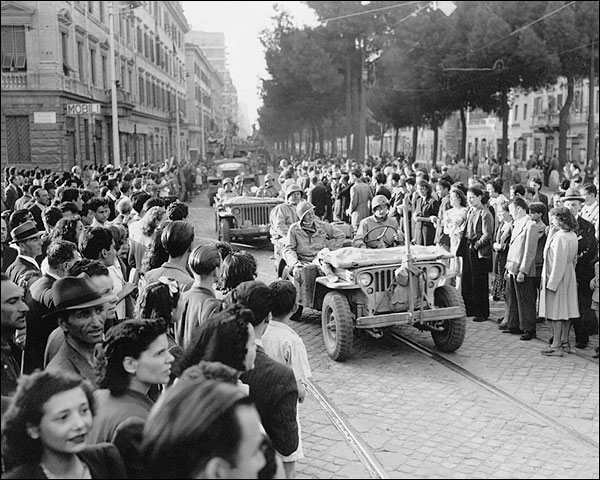 WWII American Soldiers Enter Rome Italy Photo Print for Sale