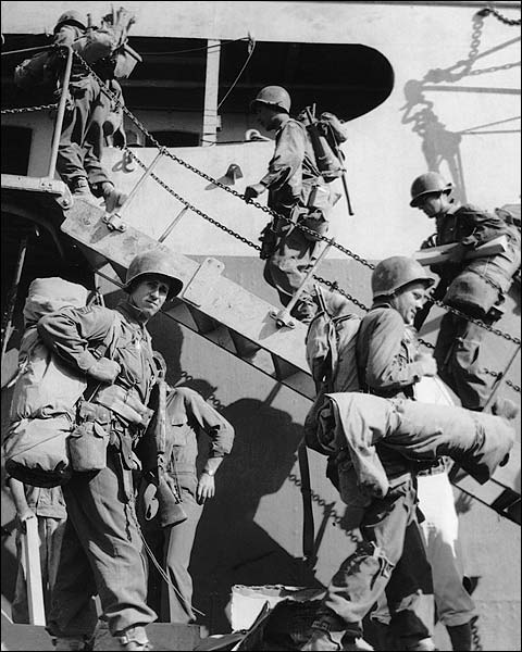 WWII US Soldiers Boarding Ship to France Photo Print for Sale