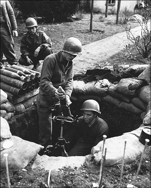 WWII U.S. Soldiers Firing 81 mm Mortar Gun Photo Print for Sale