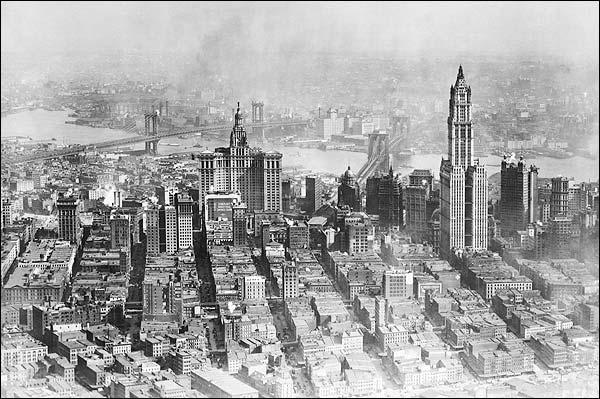 Woolworth w/ Brooklyn & Manhattan Bridges Photo Print for Sale