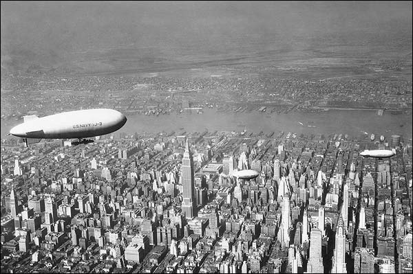Empire State & Chrysler w/ Navy Blimp, NYC Photo Print for Sale