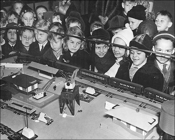 Children w/ Toy Train Set Christmas 1950's Photo Print for Sale
