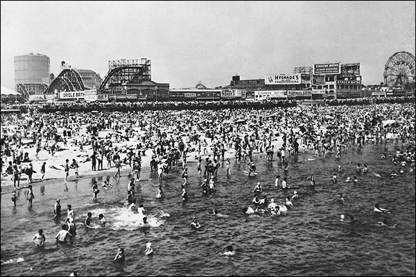 Coney Island Beach Crowds on 4th of July Photo Print for Sale