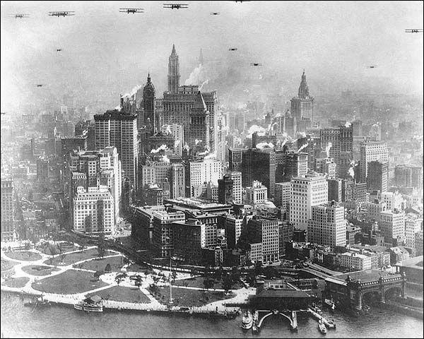 Planes Over Manhattan, NYC Early Aviation Photo Print for Sale