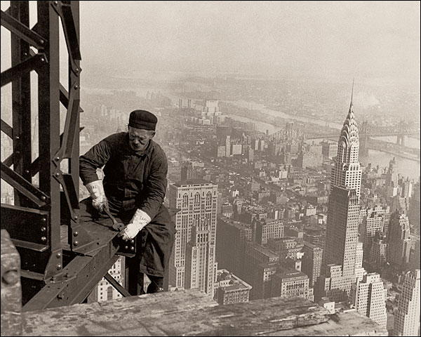 Empire State Building Worker Lewis Hine Toned