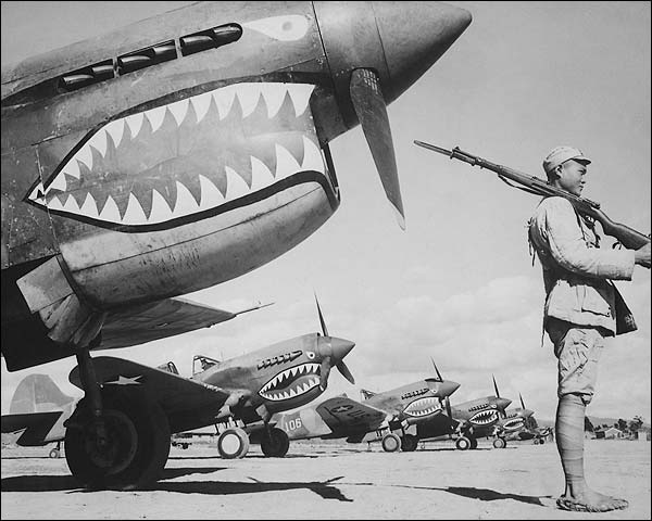 Chinese Soldier with American P-40 Fighter Planes WWII Photo Print for Sale