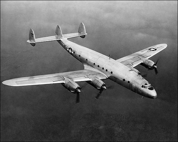 Lockheed Constellation C-69 In Flight 3/4 Front Top View  Photo Print for Sale