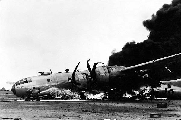 B-29 After Emergency Landing at Iwo Jima WWII Photo Print for Sale