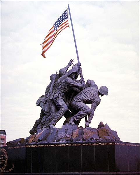 Iwo Jima WWII Flag Raising Memorial Photo Print for Sale
