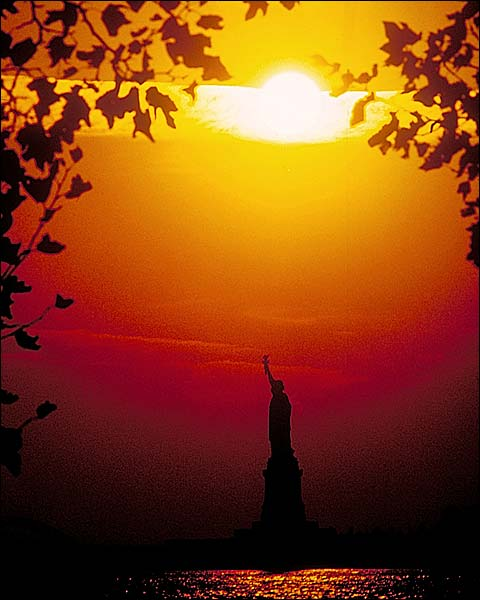 New York City Statue of Liberty at Sunset Photo Print for Sale