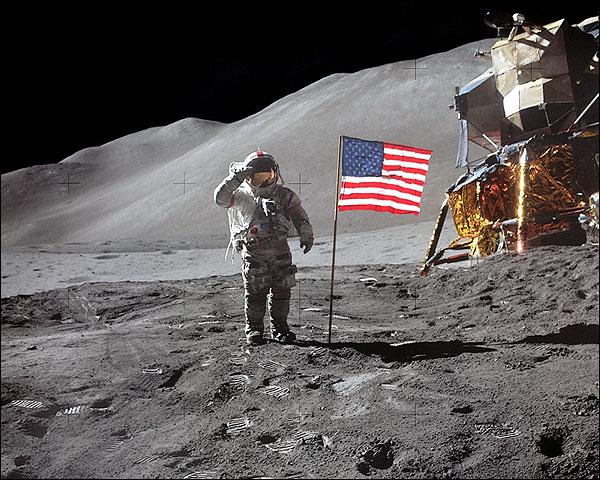 Apollo 15 Astronaut David Scott U.S. Flag Photo Print for Sale