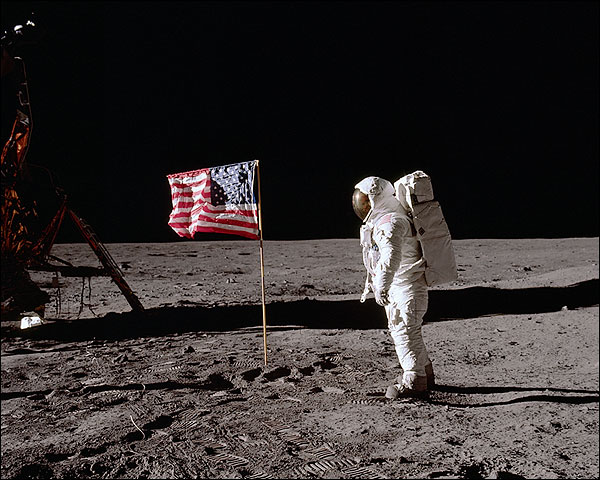 Apollo 11 Buzz Aldrin w/ Flag on Moon Photo Print for Sale