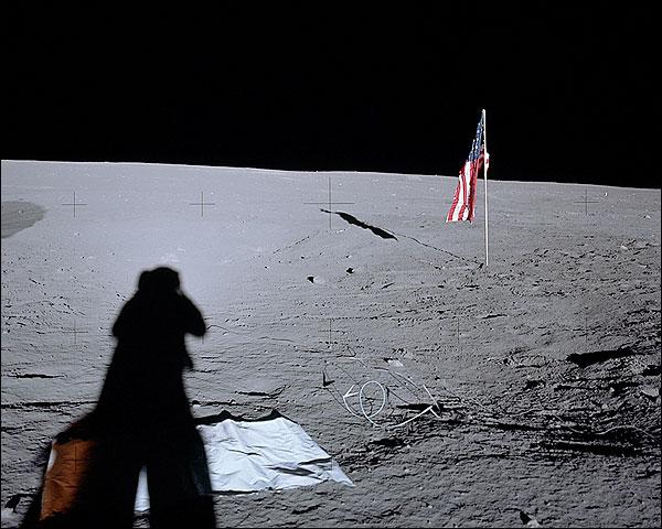 Apollo 12 Alan Bean Shadow on Moon Photo Print for Sale