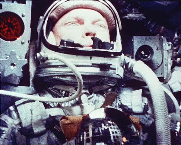 John Glenn in Mercury Atlas 6 Capsule Photo Print for Sale