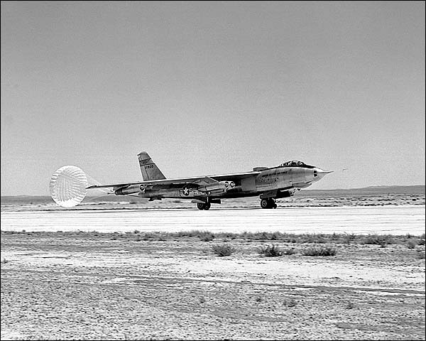 B-47 Stratojet Lands w/ Drag Chute Photo Print for Sale