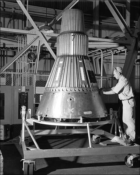 Mercury Capsule 2 With Technician Photo Print for Sale