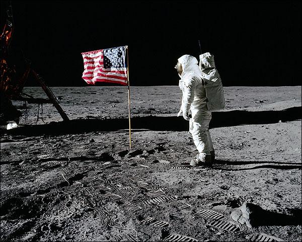 Apollo 11 Buzz Aldrin Flag Lunar Surface Photo Print for Sale