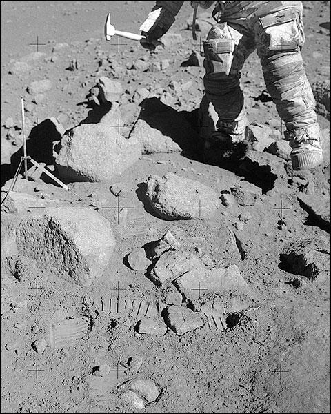 Apollo 15 Astronaut David Scott Collecting Lunar Samples Photo Print for Sale