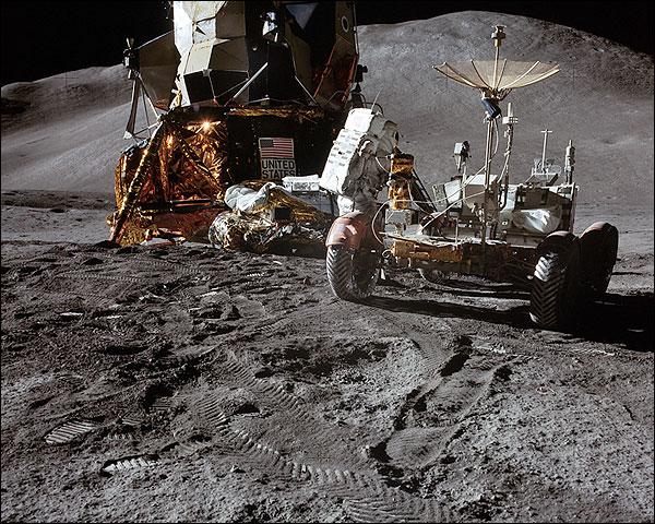 NASA Apollo 15 Rover and Lunar Module on Moon Photo Print for Sale