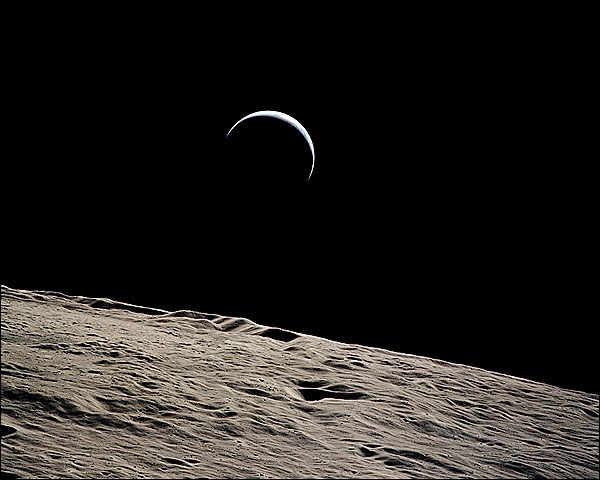 Apollo 15 Earthrise Over Lunar Surface  Photo Print for Sale