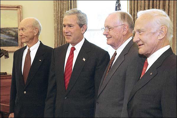 Apollo 11 Crew and President George W. Bush 2004 Photo Print for Sale