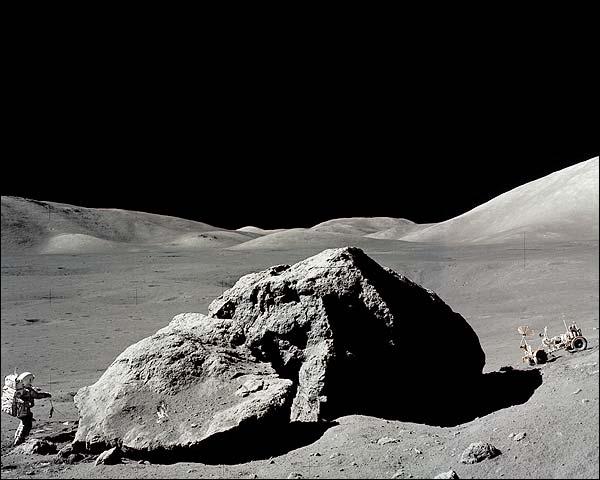 Apollo 17 Harrison Schmitt with Tracy's Rock on Moon Photo Print for Sale
