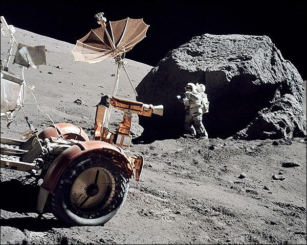 Astronaut Harrison Schmitt and Lunar Rover on Apollo 17 Photo Print for Sale