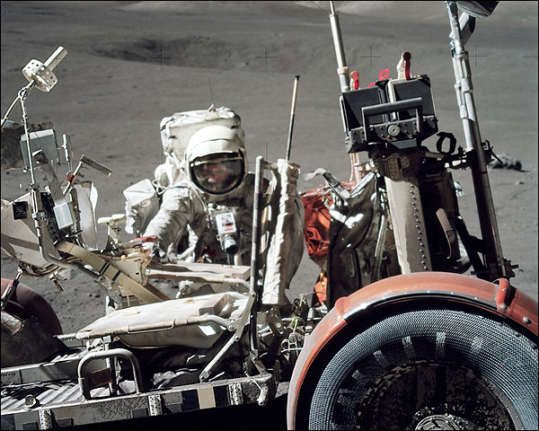 Apollo 17 NASA Astronaut Harrison Schmitt with Lunar Rover Photo Print for Sale