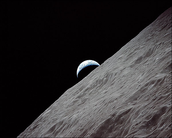 Apollo 17 View of Crescent Earthrise Above Lunar Horizon Photo Print for Sale
