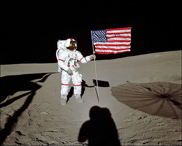 Apollo 14 Alan Shepard Flag on Moon Photo Print for Sale