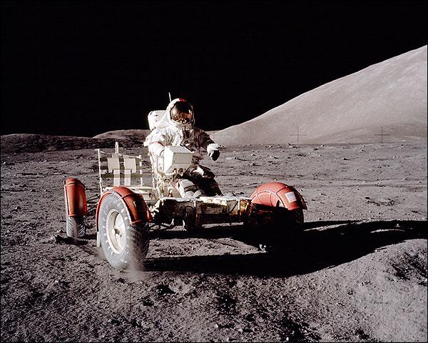 Apollo 17 Eugene Cernan with Lunar Rover Photo Print for Sale