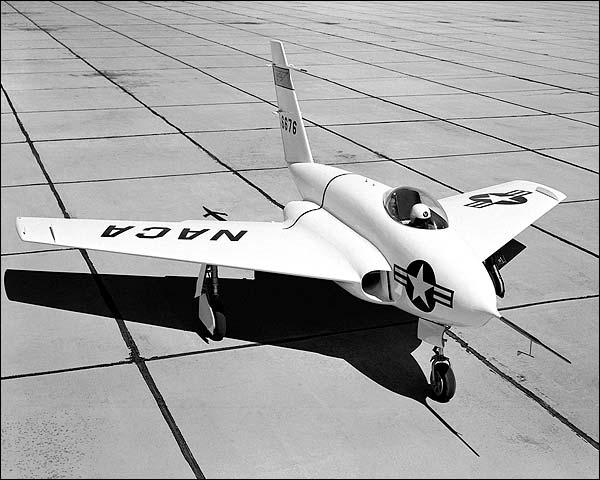 X-4 Bantam Research Aircraft on Ramp NASA Photo Print for Sale
