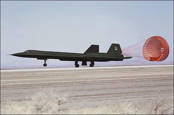 SR-71 Landing w/ Drag Chute Photo Print for Sale