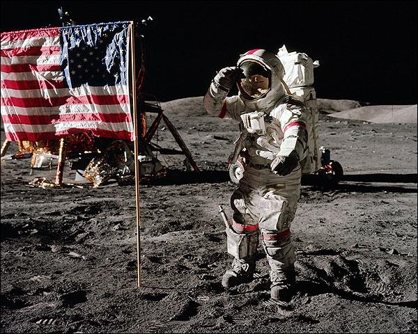 Apollo 17 Eugene Cernan Jump Salute Photo Print for Sale