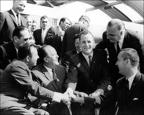 Ed White & James Civet Meet Yuri Gagarin Photo Print for Sale