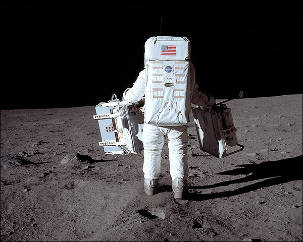 Apollo 11 Buzz Aldrin Working on Moon Photo Print for Sale
