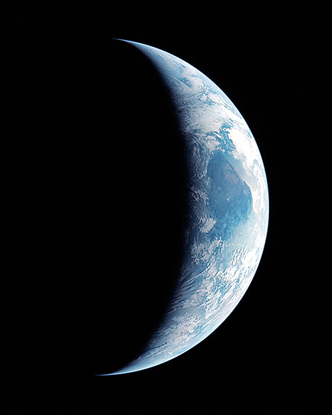 View from Apollo 11 of Crescent Earth Photo Print for Sale
