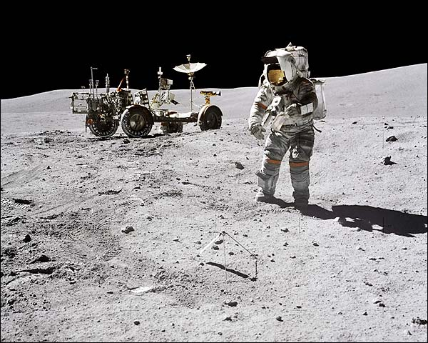 Apollo 16 Astronaut John Young & LRV Moon Photo Print for Sale