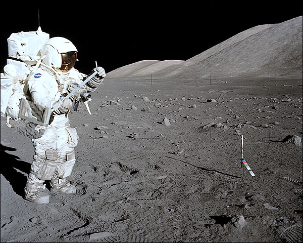 Apollo 17 Astronaut Harrison Schmitt & Moon Photo Print for Sale
