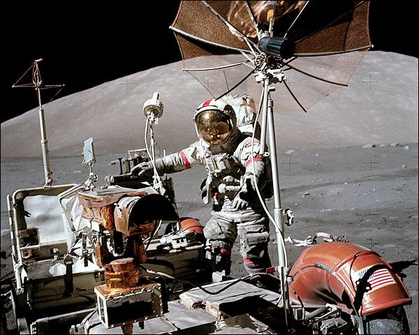 Apollo 17 Eugene Cernan w/ Lunar Rover Photo Print for Sale