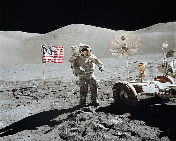 Apollo 17 Eugene Cernan w/ Rover & Flag Photo Print for Sale